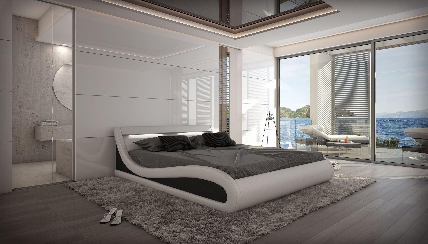 Günstiges Designer Bett Caserta Inklusive Led Beleuchtung
