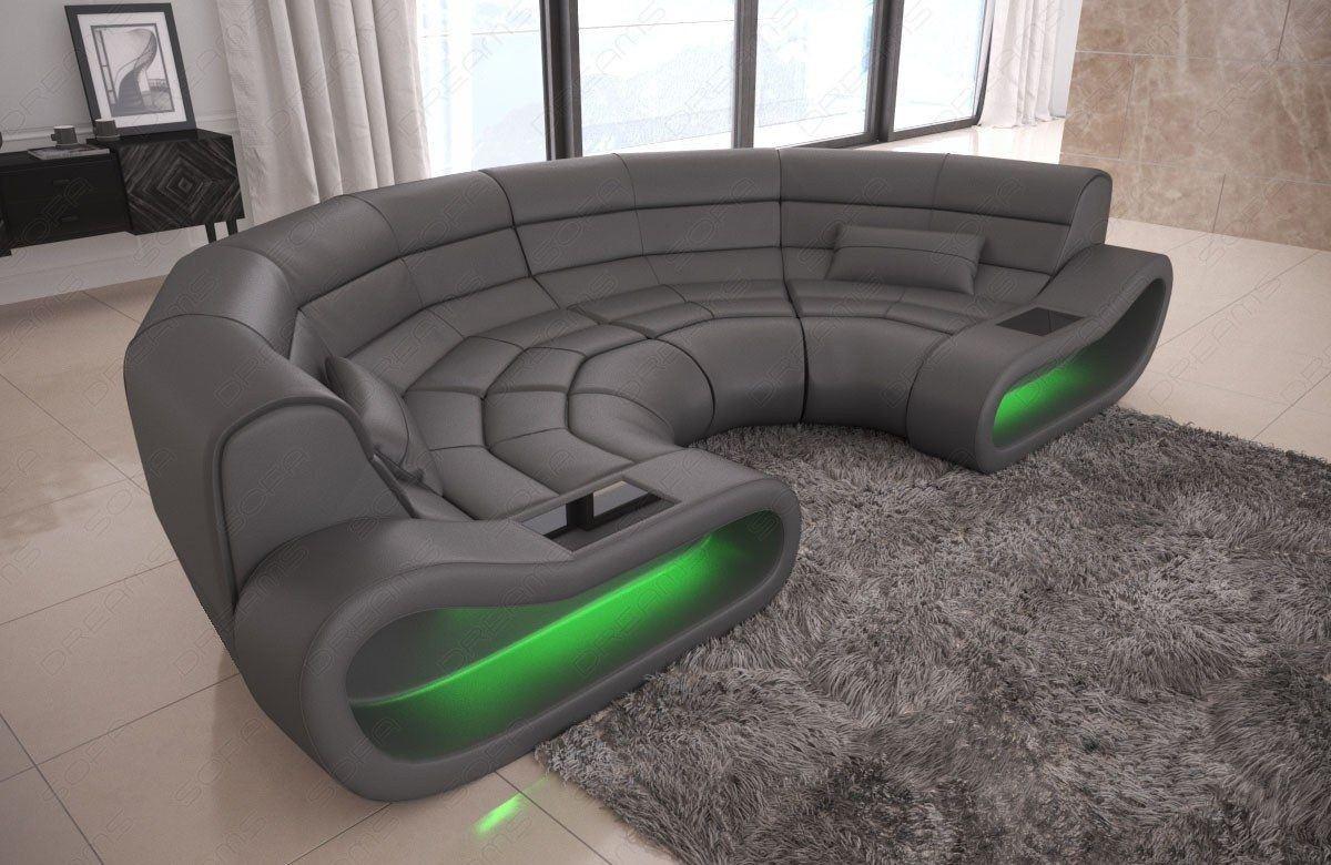 big sofa concept in leder und der farbe grau. Black Bedroom Furniture Sets. Home Design Ideas