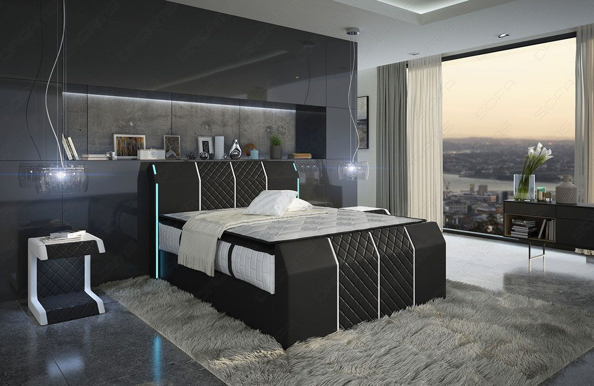 boxspringbett paris mit led beleuchtung in schwarz weiss lagerware. Black Bedroom Furniture Sets. Home Design Ideas