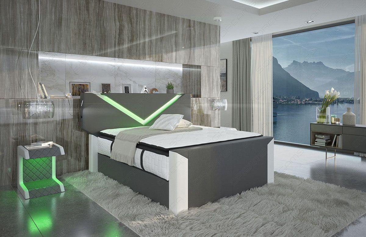 hochwertiges boxspringbett lyon mit beleuchtung. Black Bedroom Furniture Sets. Home Design Ideas