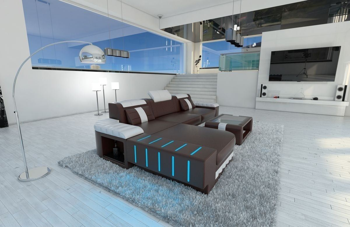 ledersofa bellagio als ecksofa l form in dunkelbraun und weiss. Black Bedroom Furniture Sets. Home Design Ideas