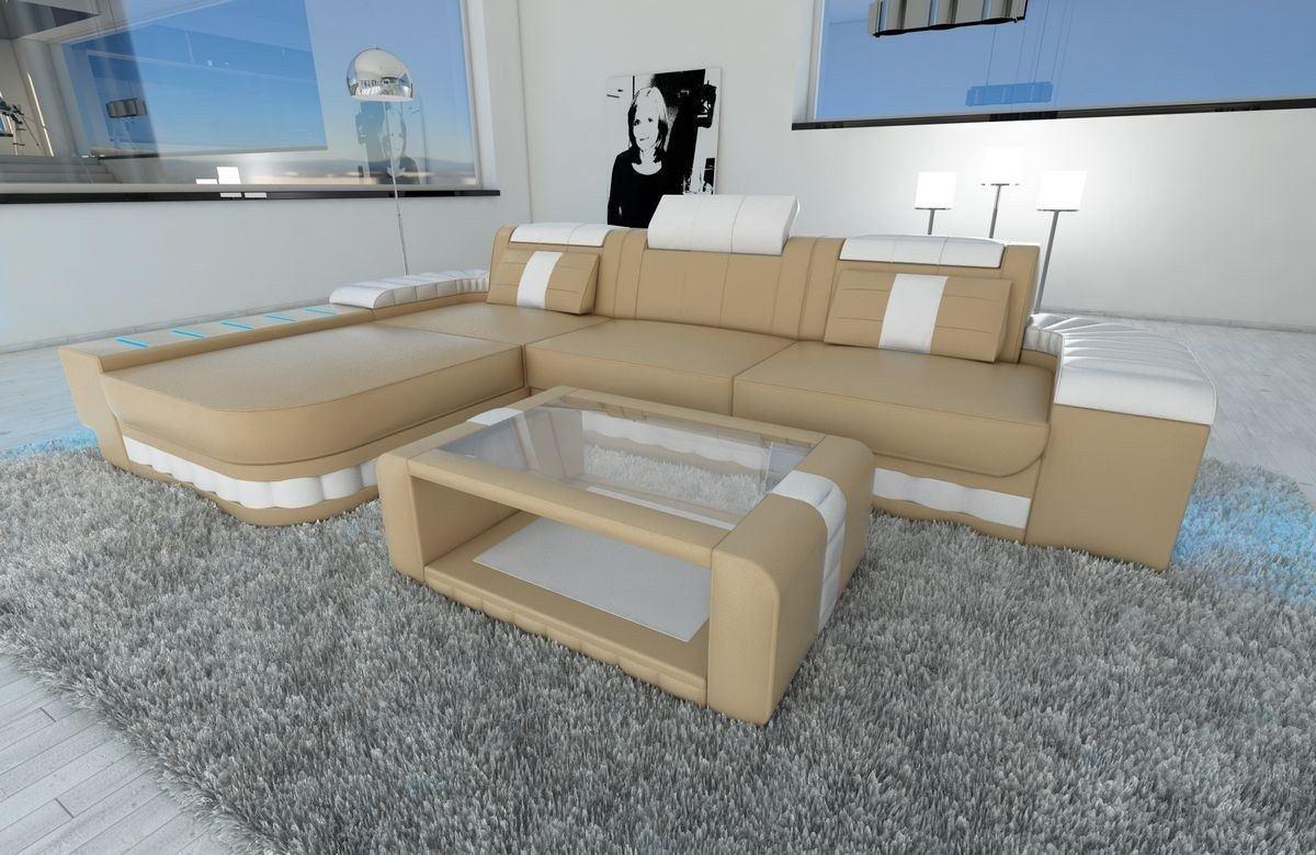 ledersofa bellagio als ecksofa l form in sandbeige und weiss. Black Bedroom Furniture Sets. Home Design Ideas