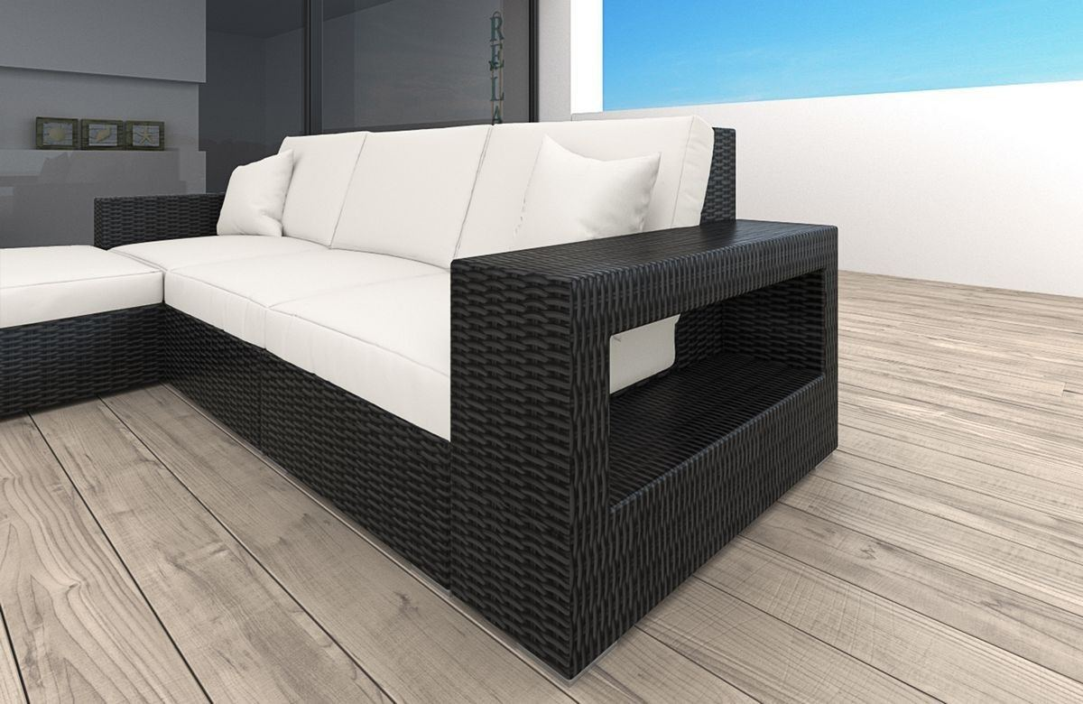 rattan sofa messana l form led rattan g nstig online kaufen. Black Bedroom Furniture Sets. Home Design Ideas