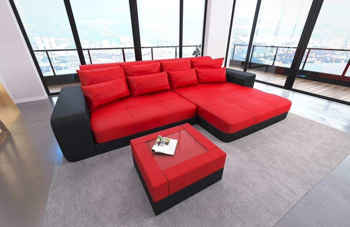 leder bigsofa milano rot schwarz. Black Bedroom Furniture Sets. Home Design Ideas
