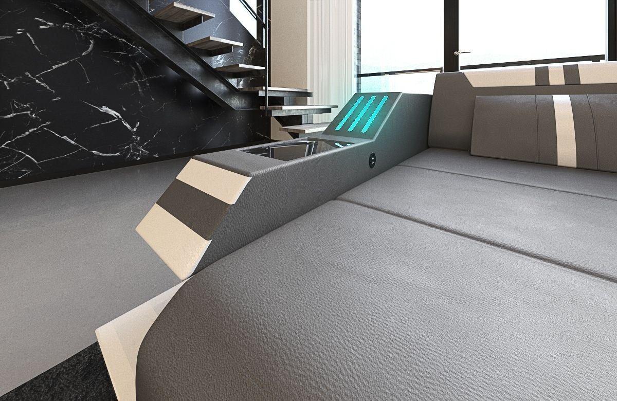 sofa ravenna in leder als ecksofa l form in den farben grau weiss. Black Bedroom Furniture Sets. Home Design Ideas
