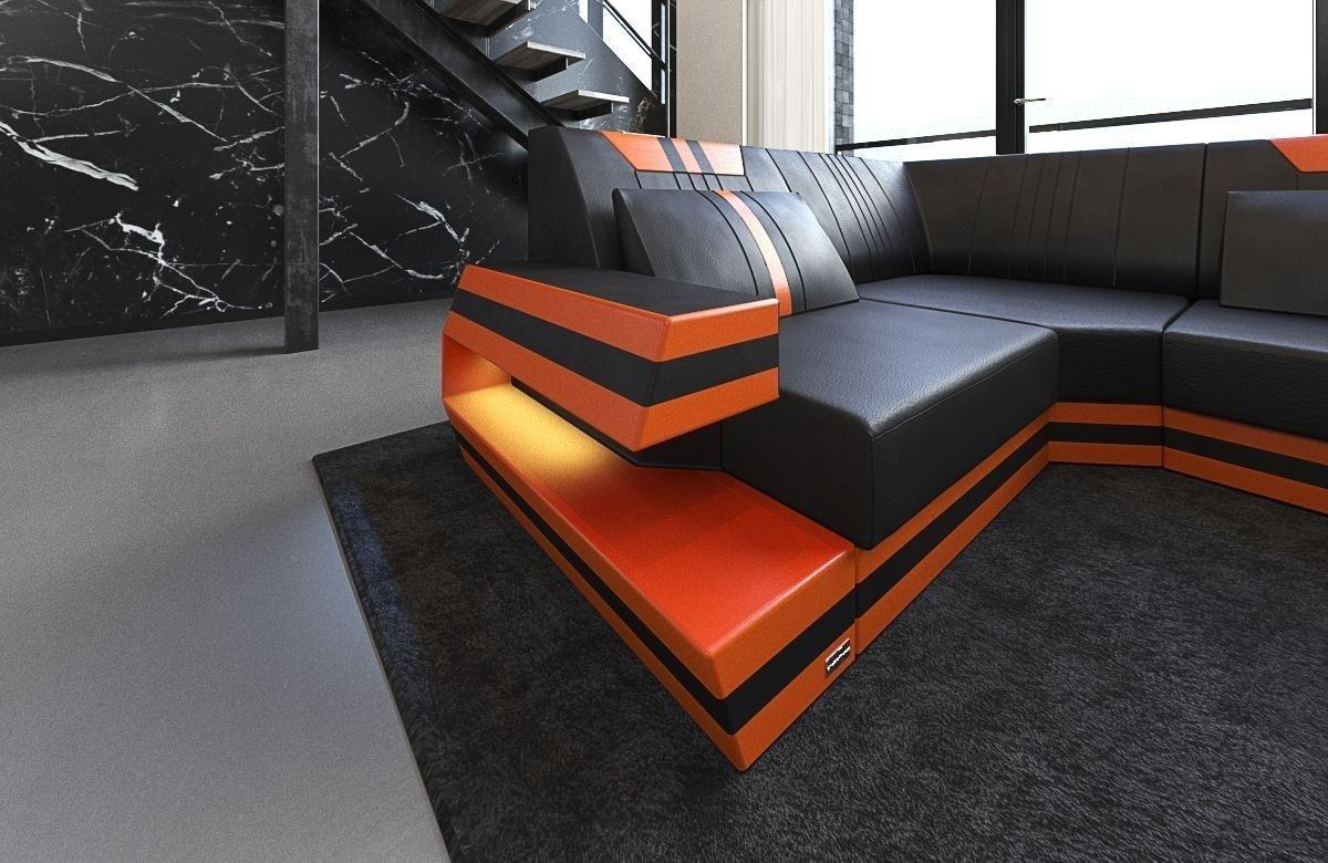 leder wohnlandschaft ravenna als u form mit farben schwarz orange. Black Bedroom Furniture Sets. Home Design Ideas