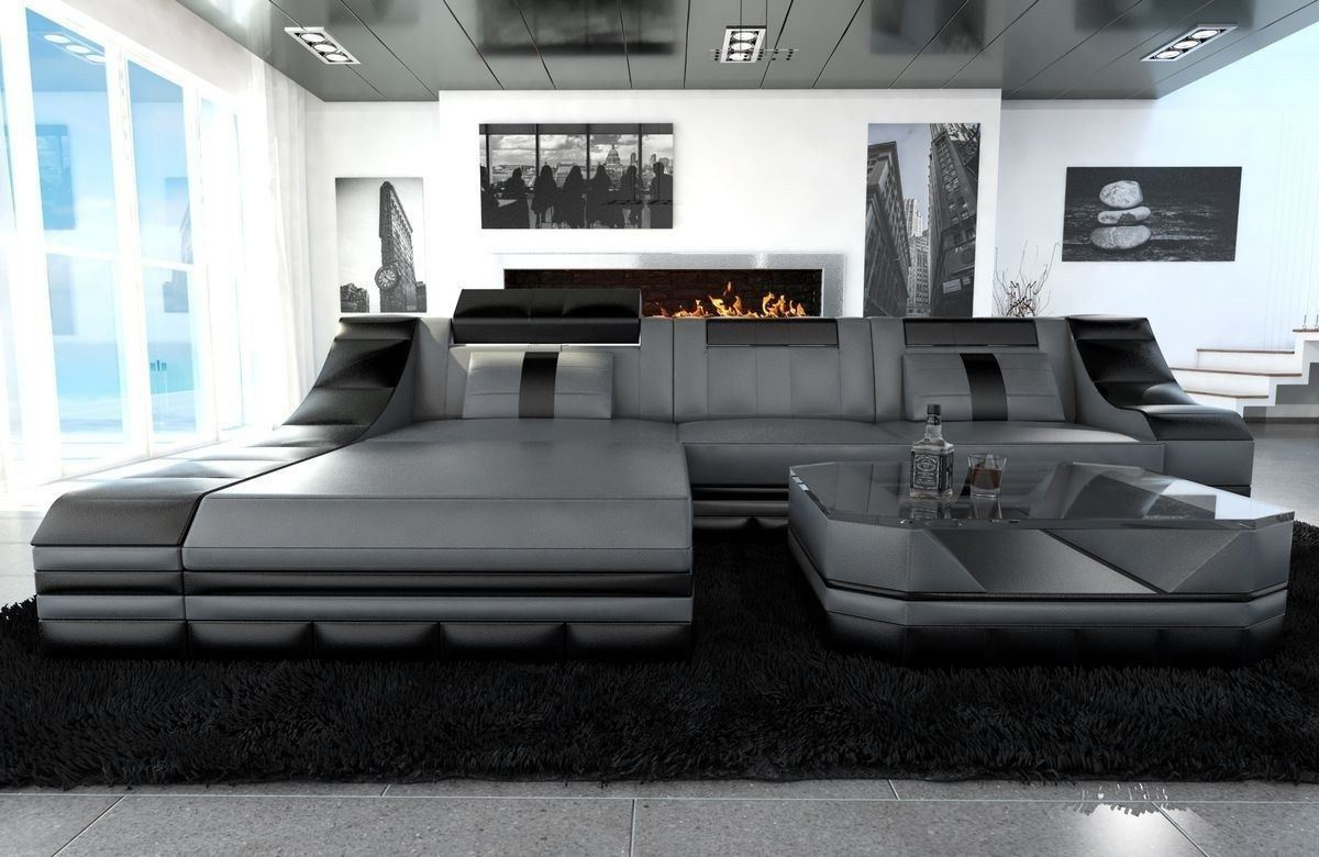 couch turino l form mit echtleder und kunstleder in grau schwarz. Black Bedroom Furniture Sets. Home Design Ideas