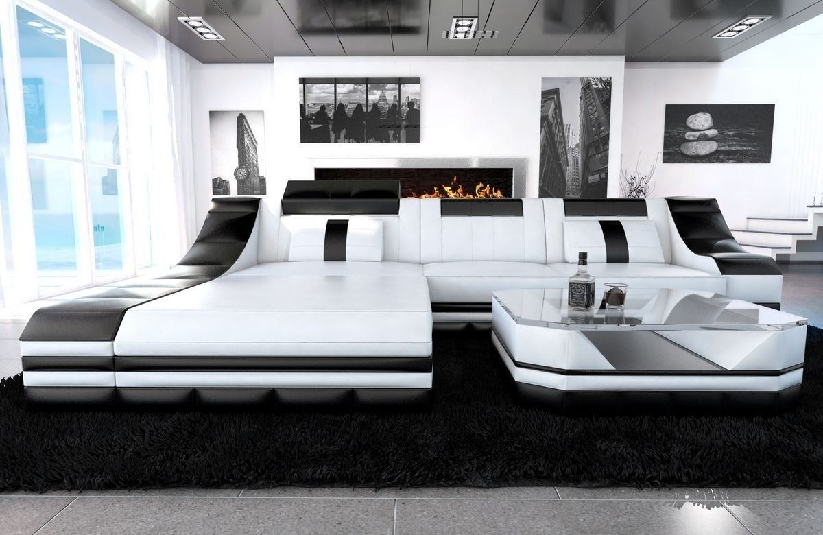 couch turino l form mit echtleder und kunstleder in weiss schwarz. Black Bedroom Furniture Sets. Home Design Ideas