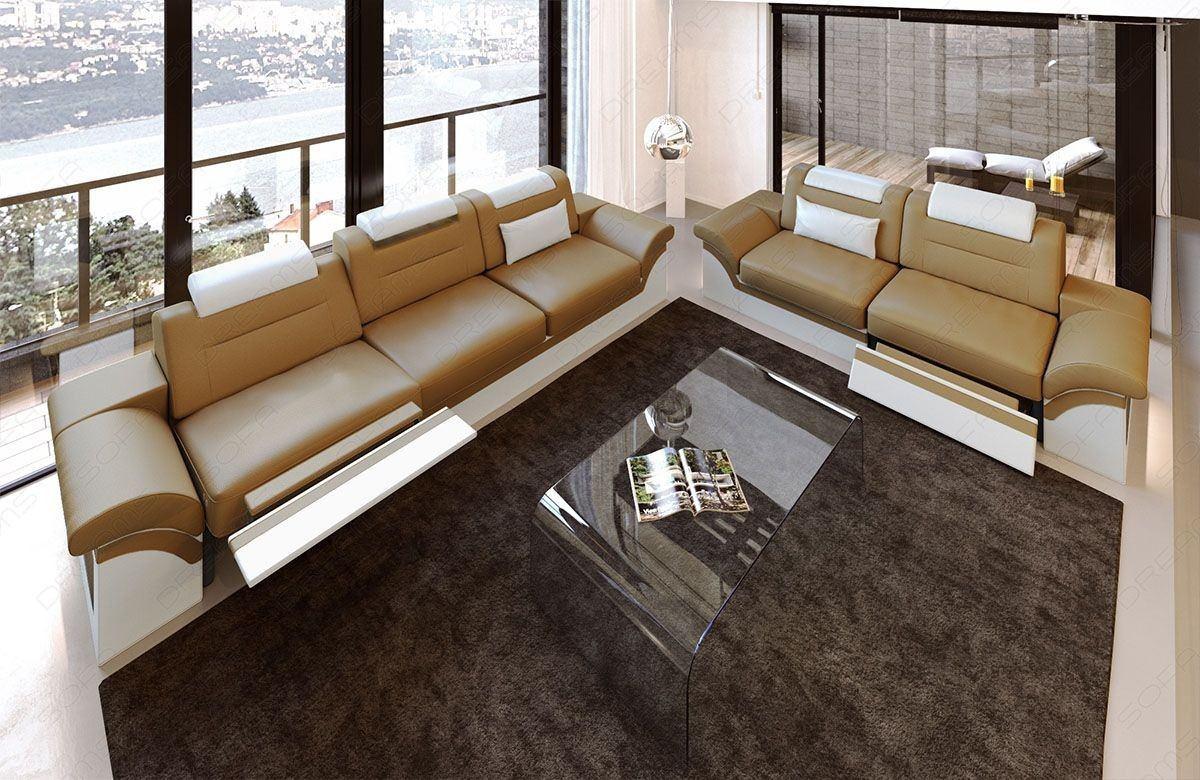 Couchgarnitur monza 3 2 1 in leder mit eingebauter led for Couch 3 2 1 garnitur