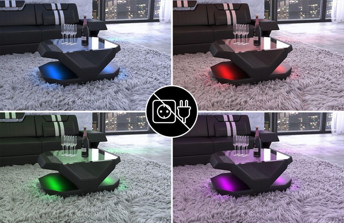 couchtisch venedig in leder mit einer led beleuchtung. Black Bedroom Furniture Sets. Home Design Ideas