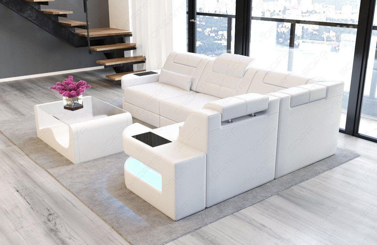 ledersofa como in der l form als ecksofa in komplett weiss. Black Bedroom Furniture Sets. Home Design Ideas