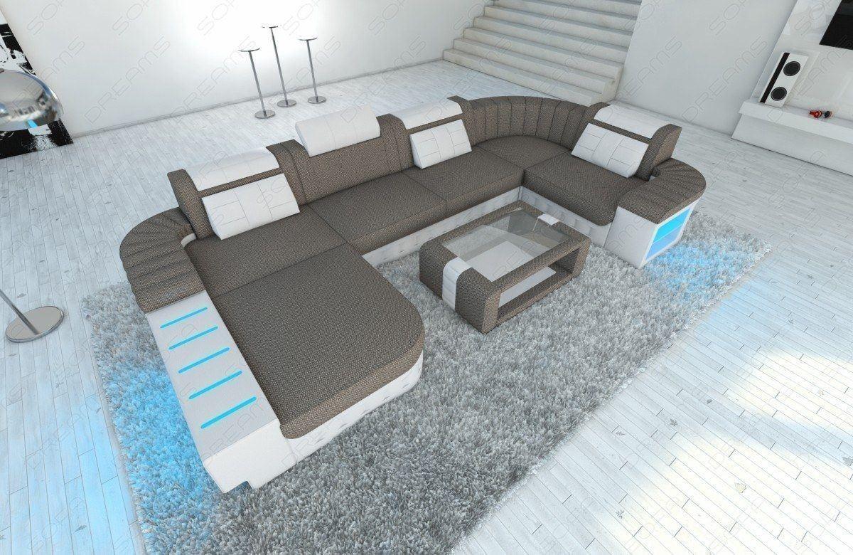 Designer Wohnlandschaft Bellagio In Stoff Als U Form Stoffsofa