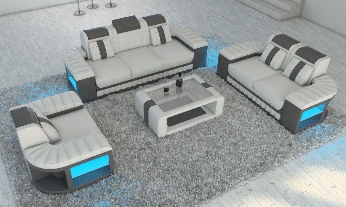 Couchgarnitur Bellagio 3 2 1 In Leder Garnitur Mit Led Beleuchtung