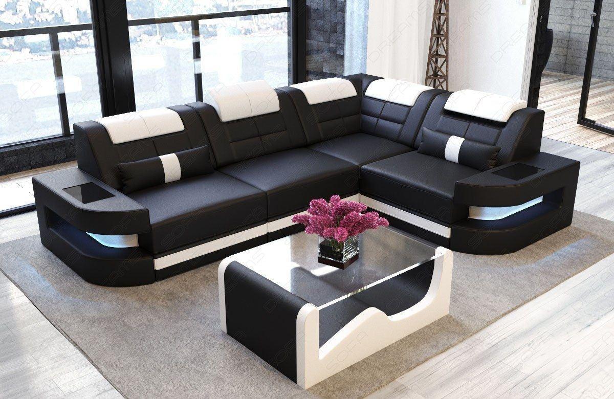 ledersofa como in der l form als ecksofa in schwarz und weiss. Black Bedroom Furniture Sets. Home Design Ideas