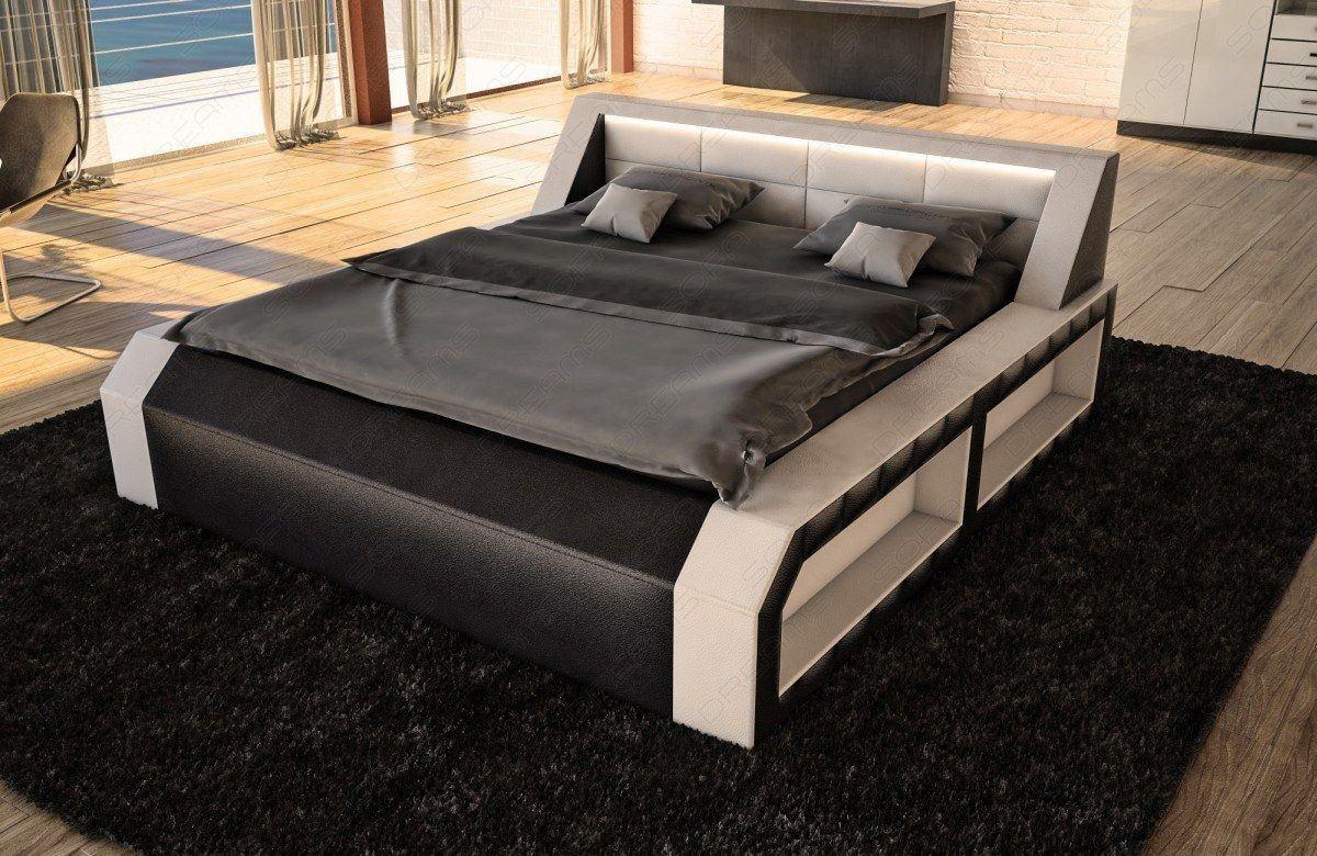 bett matera mit matratze und lattenrost schwarz weiss. Black Bedroom Furniture Sets. Home Design Ideas