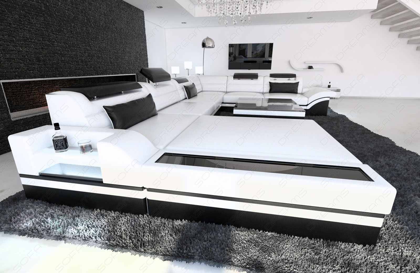 super xxl wohnlandschaft mezzo ledersofa mit schlaffunktion. Black Bedroom Furniture Sets. Home Design Ideas