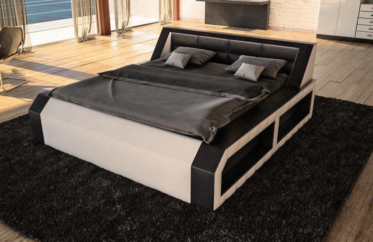 boxspring bett matera schwarz weiss modern mit led beleuchtung. Black Bedroom Furniture Sets. Home Design Ideas