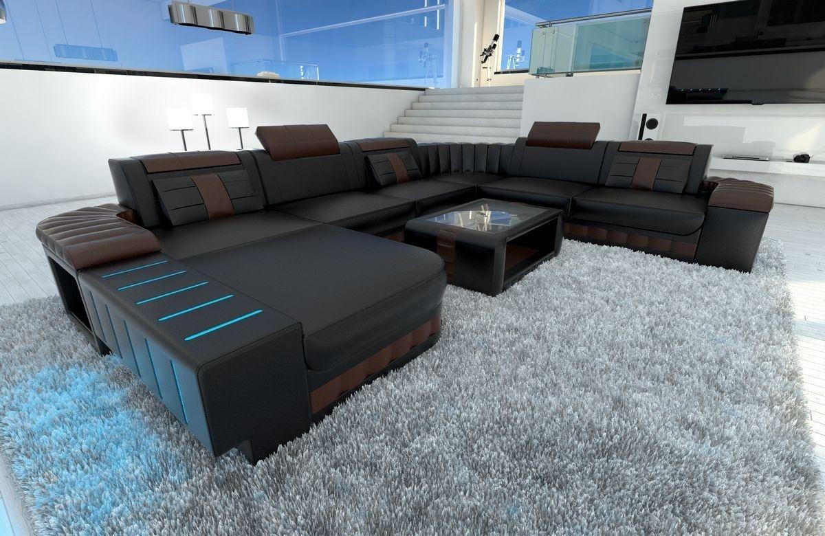 design wohnlandschaft bellagio xxl mit r cami re und led licht. Black Bedroom Furniture Sets. Home Design Ideas