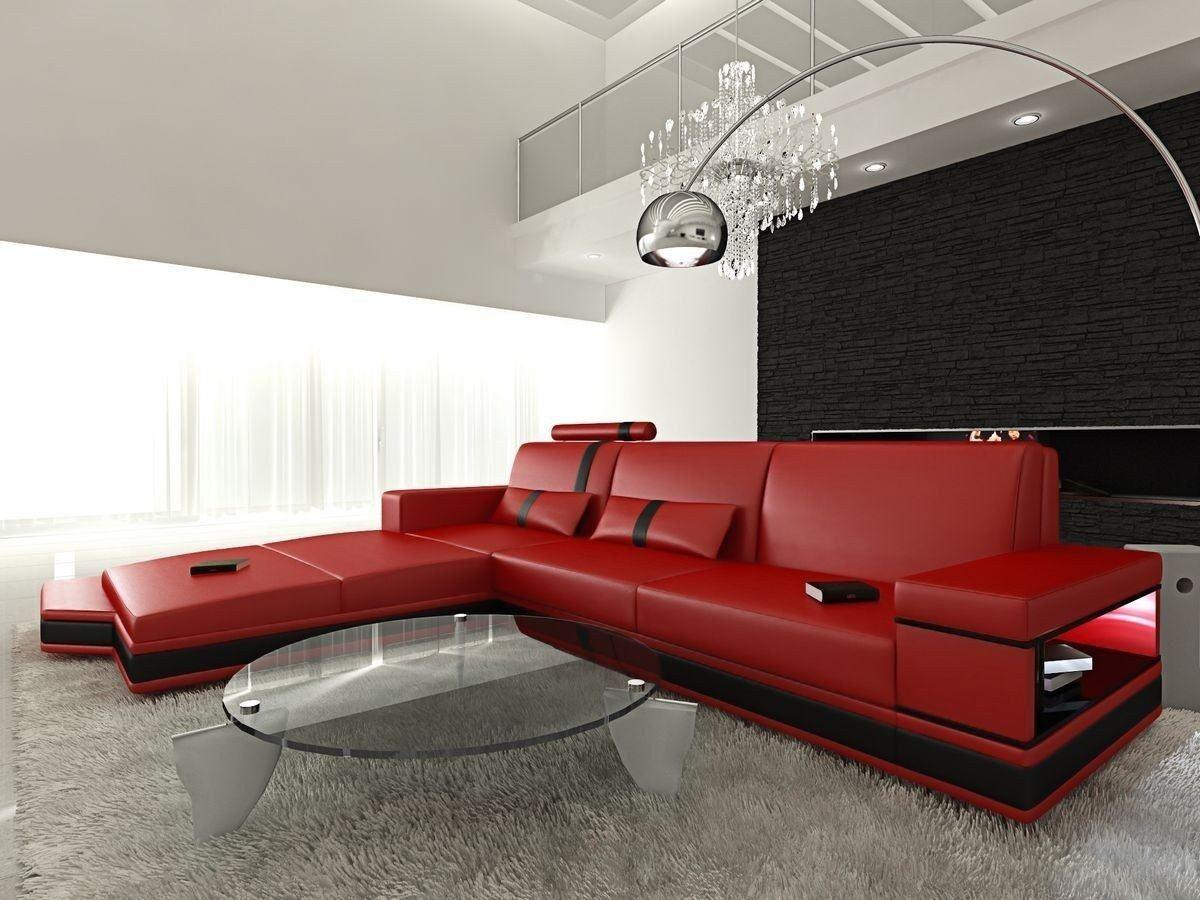 ledersofa messana in der l form als ecksofa in rot und schwarz. Black Bedroom Furniture Sets. Home Design Ideas