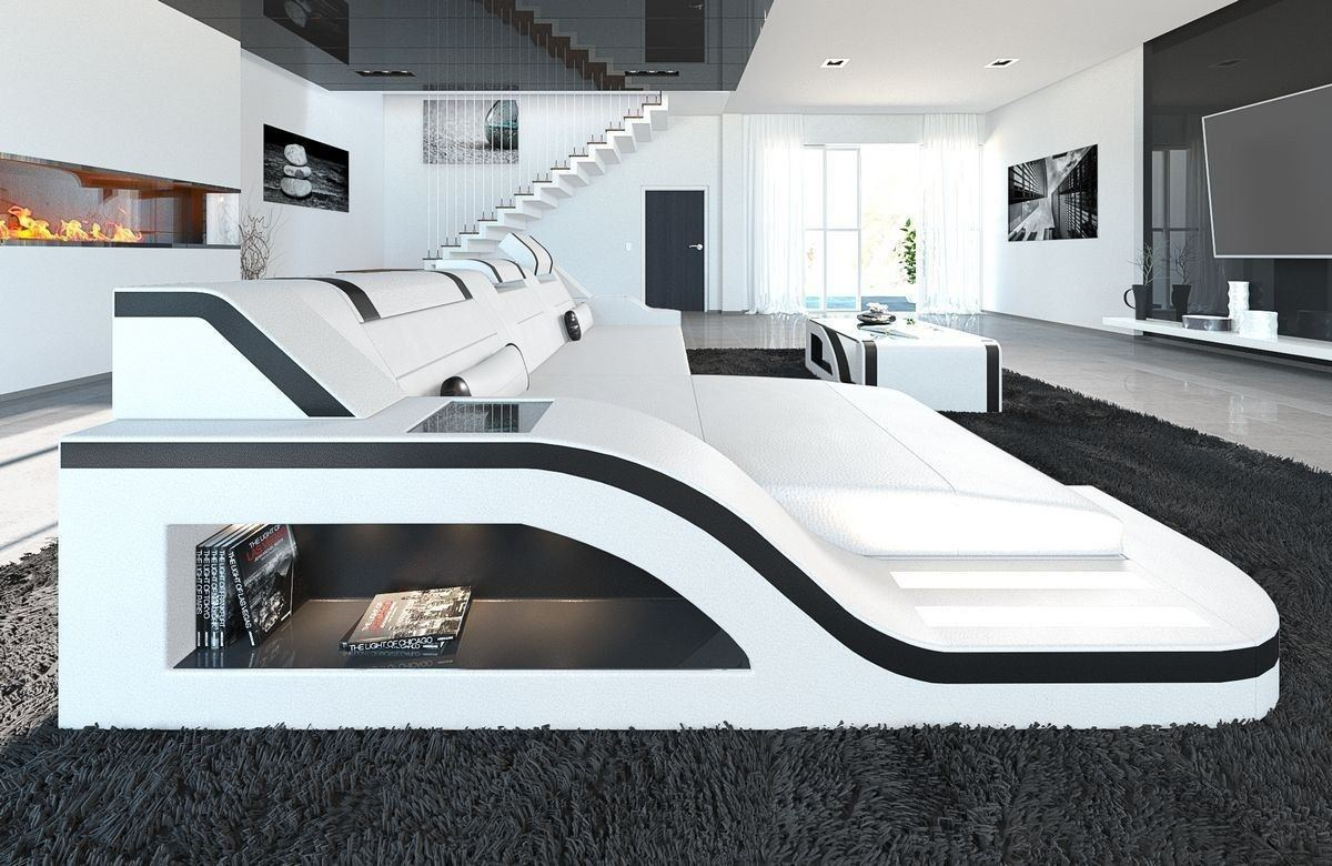 sofa palermo in leder als l form ecksofa in den farben weiss schwarz. Black Bedroom Furniture Sets. Home Design Ideas