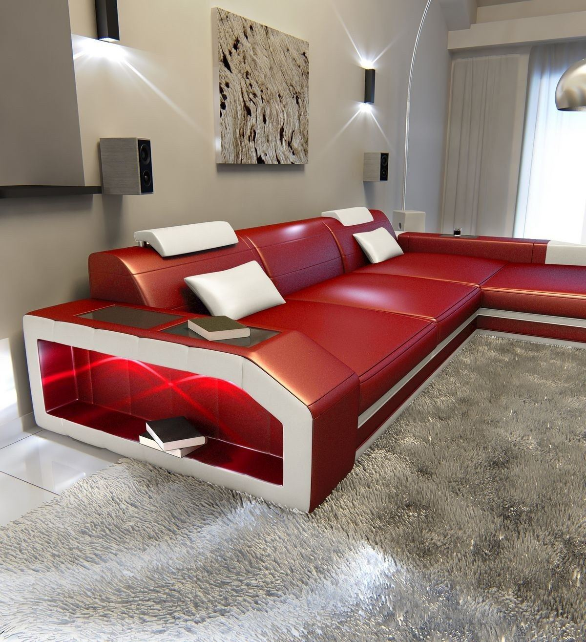 ledersofa prato l form rot weiss. Black Bedroom Furniture Sets. Home Design Ideas