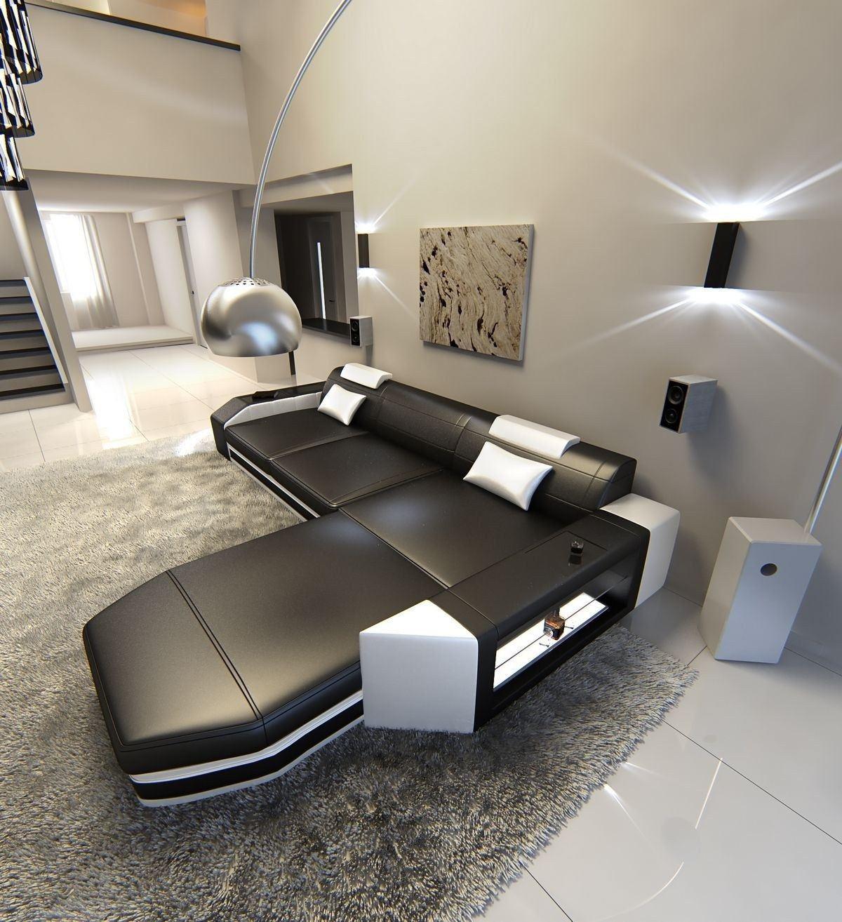 ledersofa prato l form schwarz weiss. Black Bedroom Furniture Sets. Home Design Ideas