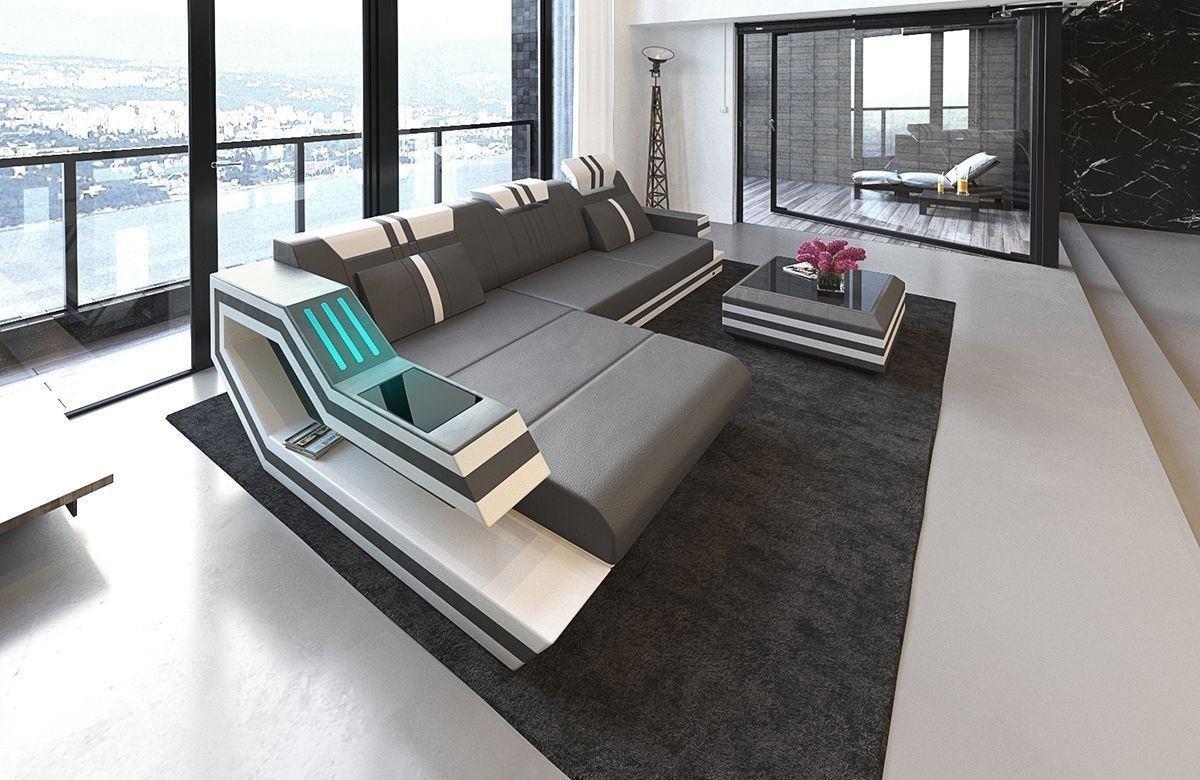 Sofa Ravenna In Leder Als Ecksofa L Form In Den Farben Grau Weiss