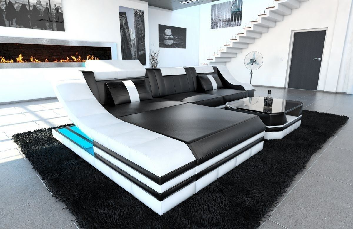couch turino l form mit echtleder und kunstleder in schwarz weiss. Black Bedroom Furniture Sets. Home Design Ideas