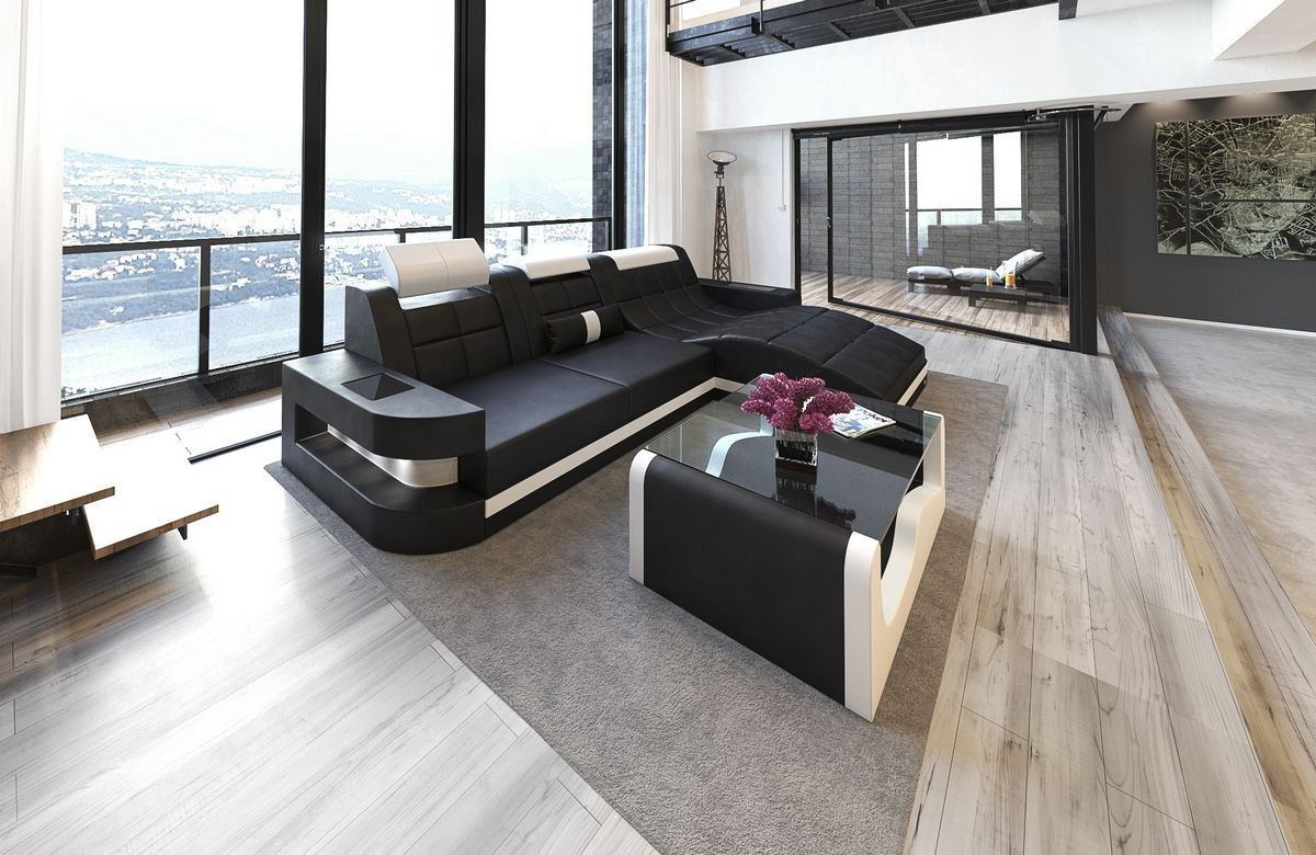 ledersofa wave l form schwarz weiss. Black Bedroom Furniture Sets. Home Design Ideas