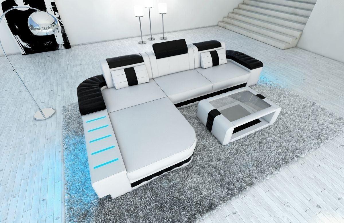 ledersofa bellagio als ecksofa l form in weiss und schwarz. Black Bedroom Furniture Sets. Home Design Ideas