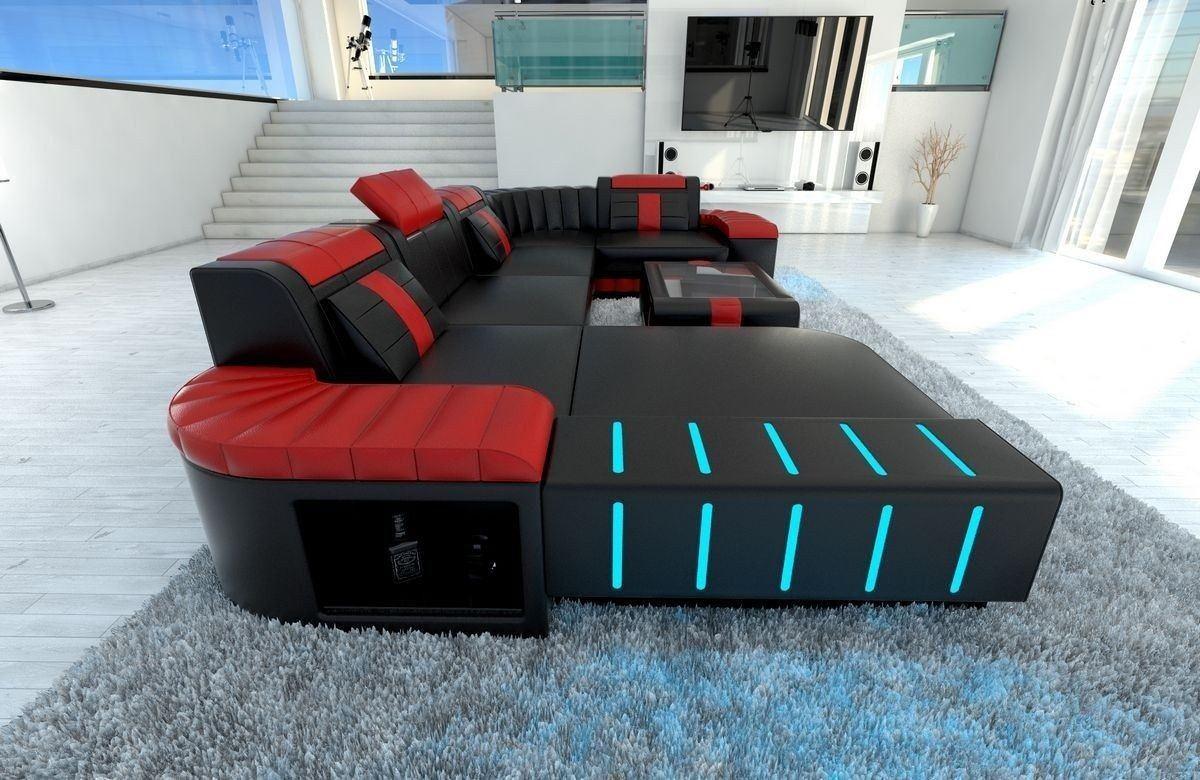 sofa wohnlandschaft leder bellagio als u form in schwarz und rot. Black Bedroom Furniture Sets. Home Design Ideas