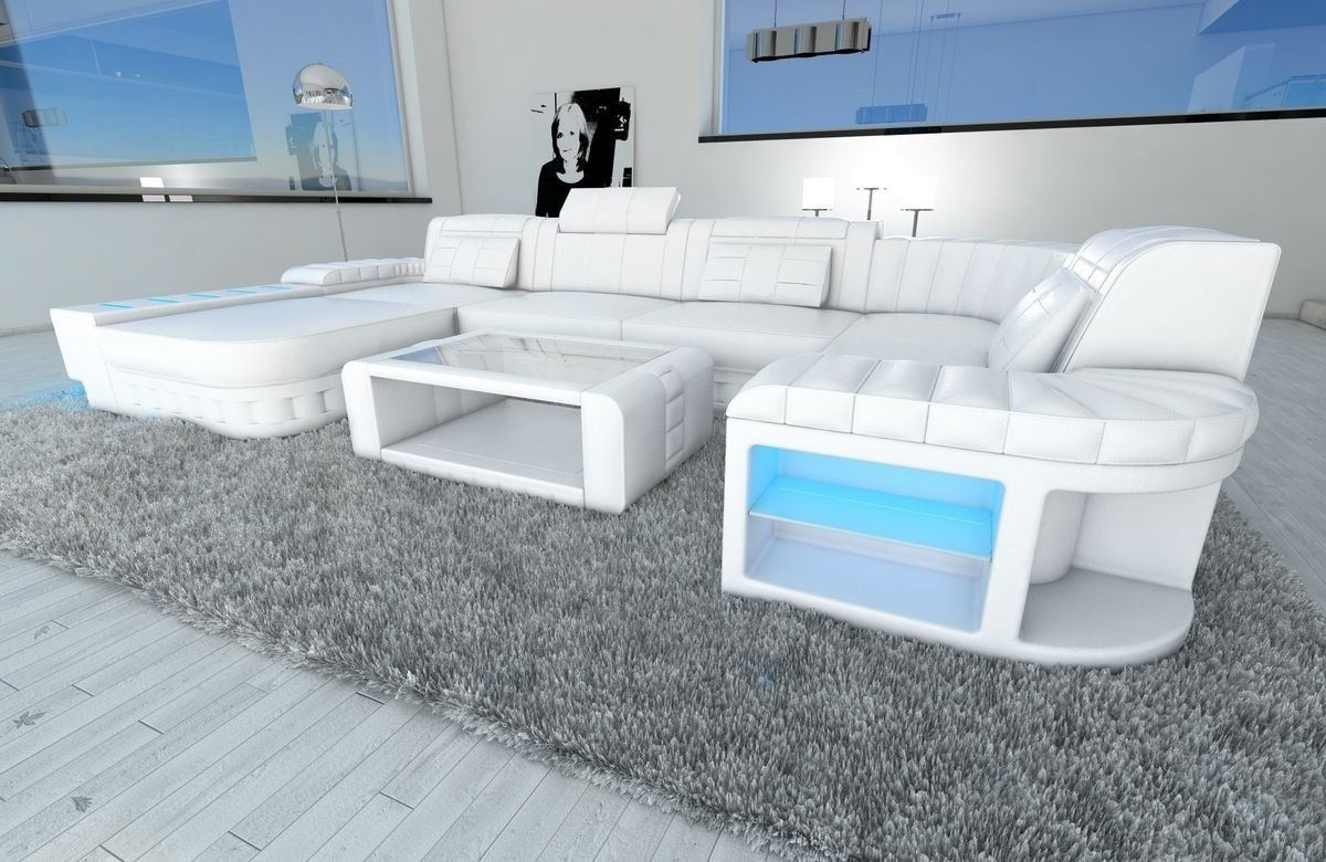 sofa wohnlandschaft leder bellagio als u form in komplett weiss. Black Bedroom Furniture Sets. Home Design Ideas