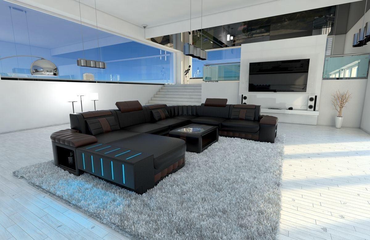 xxl wohnlandschaft bellagio in leder in den farben schwarz braun. Black Bedroom Furniture Sets. Home Design Ideas