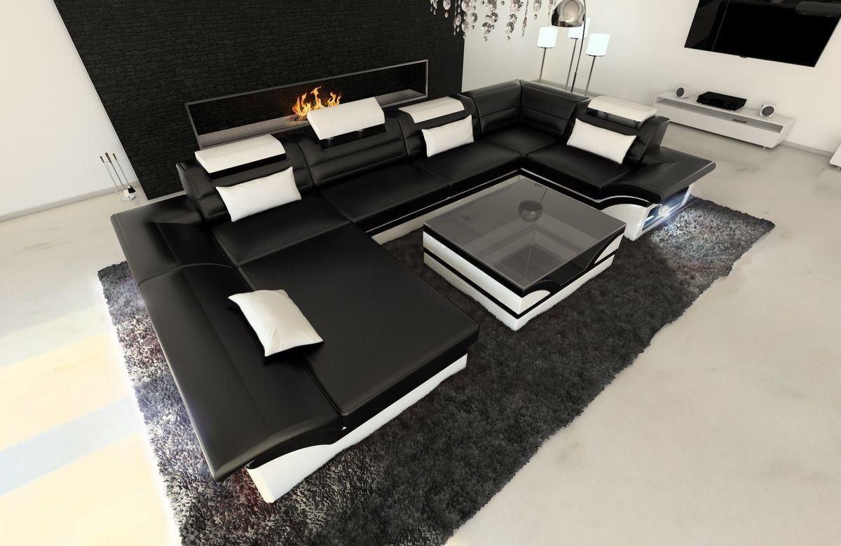 leder wohnlandschaft enzo u form schwarz weiss. Black Bedroom Furniture Sets. Home Design Ideas
