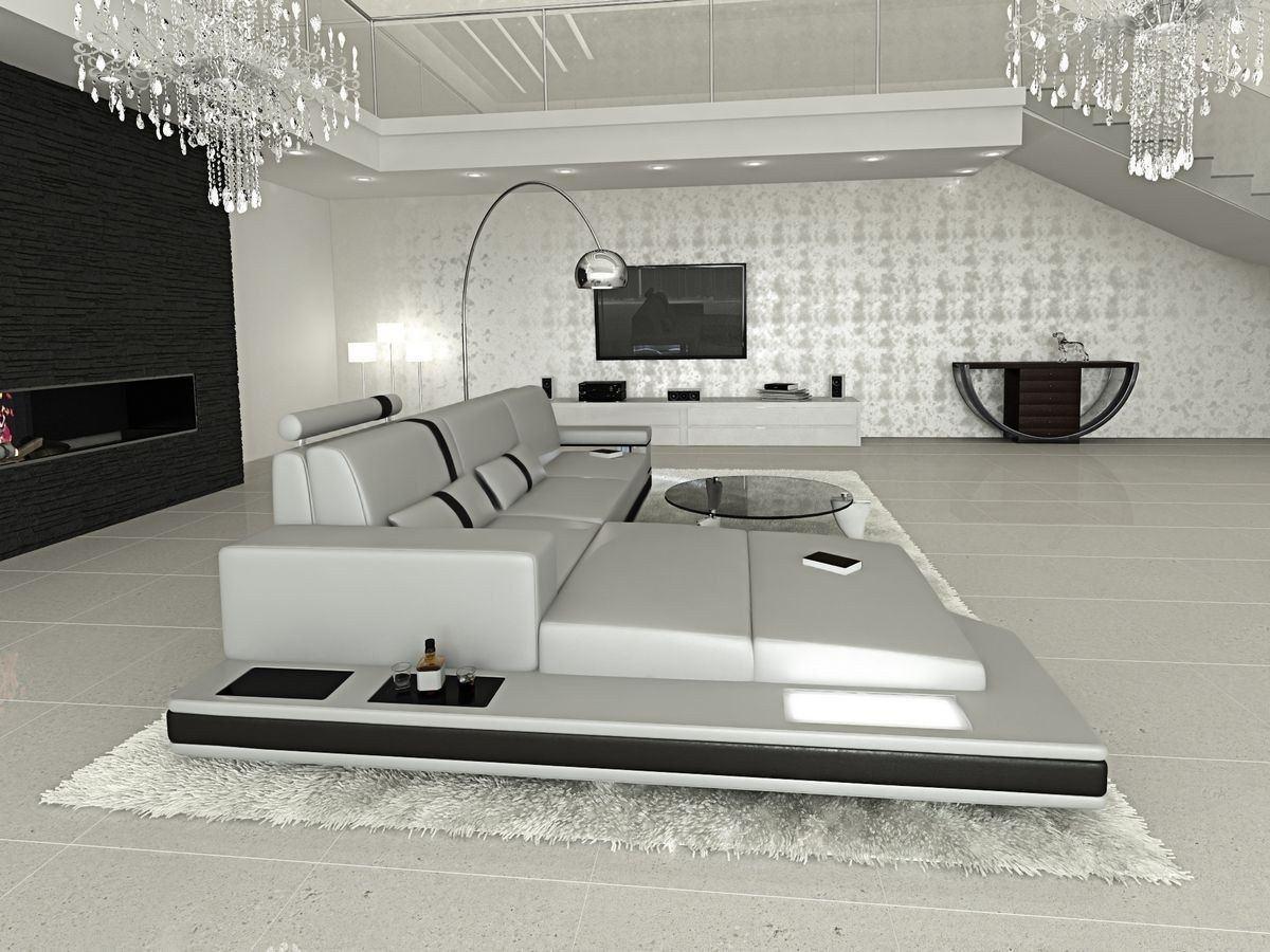 ledersofa messana in der l form als ecksofa in grau und schwarz. Black Bedroom Furniture Sets. Home Design Ideas