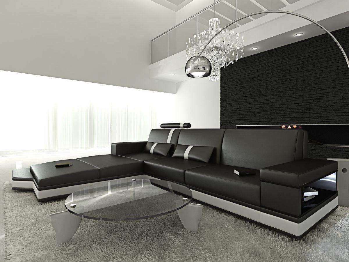 ledersofa messana in der l form als ecksofa in schwarz und weiss. Black Bedroom Furniture Sets. Home Design Ideas