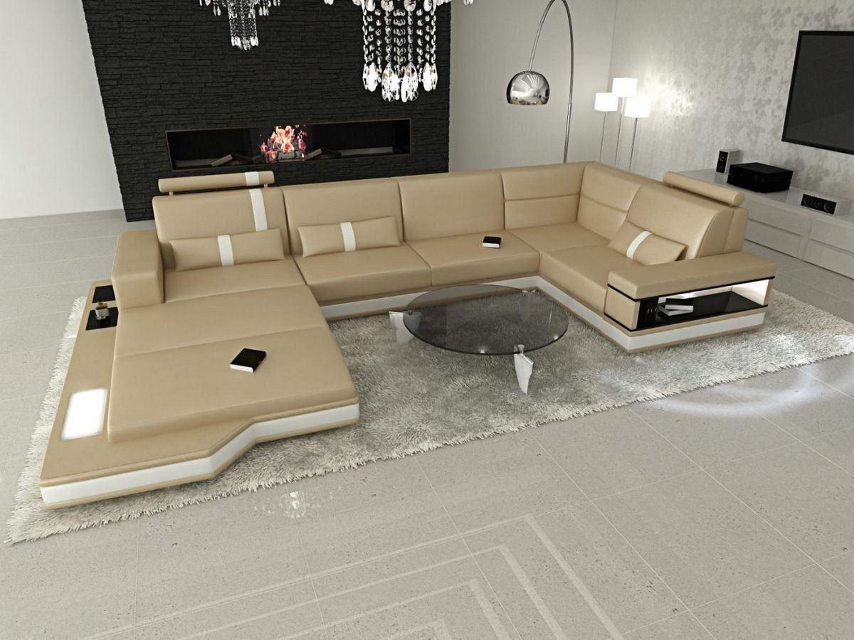 wohnlandschaft messana in leder als u form sandbeige und weiss. Black Bedroom Furniture Sets. Home Design Ideas