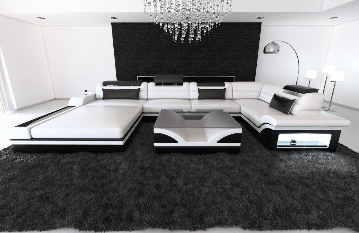 leder wohnlandschaft mezzo u form weiss schwarz. Black Bedroom Furniture Sets. Home Design Ideas