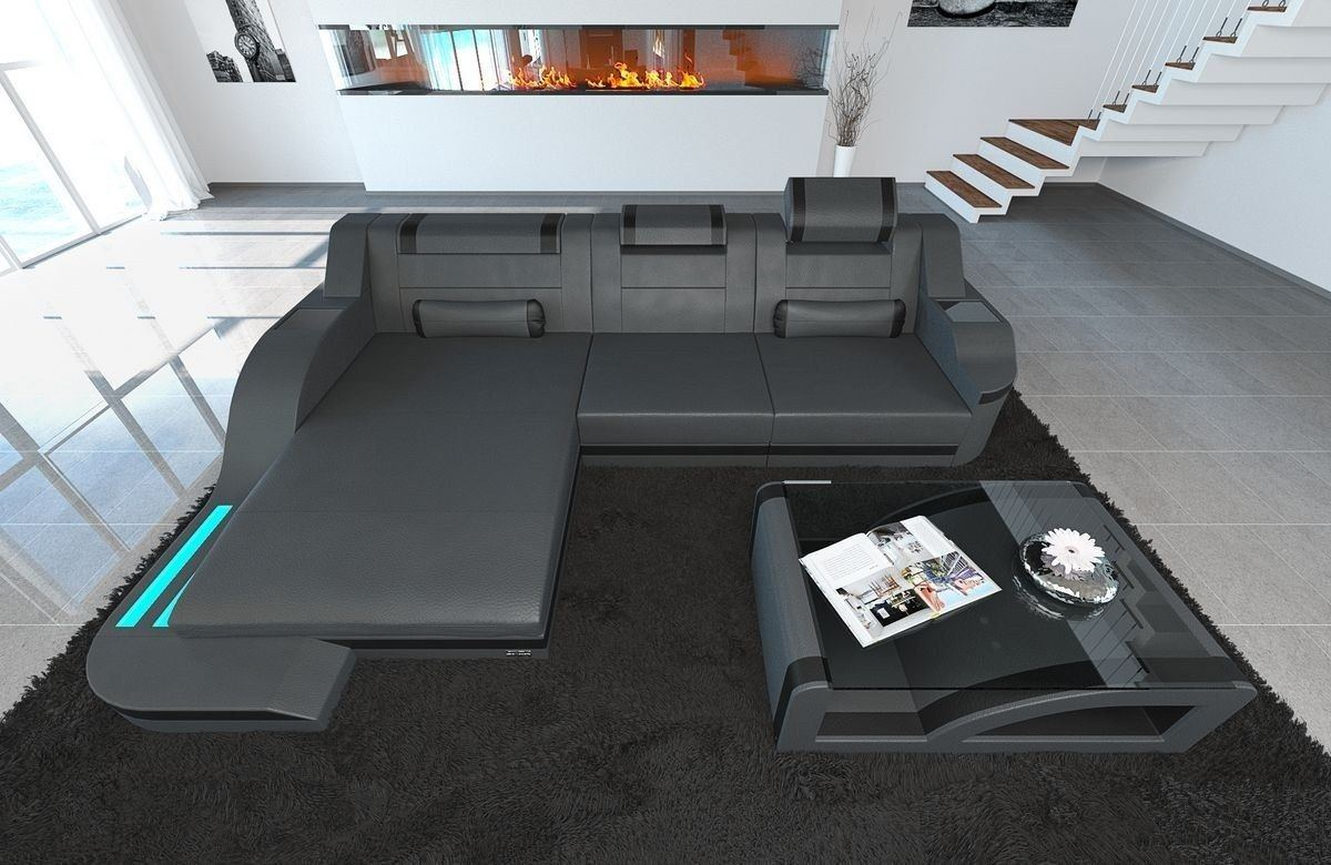 sofa palermo in leder als l form ecksofa in den farben grau schwarz. Black Bedroom Furniture Sets. Home Design Ideas