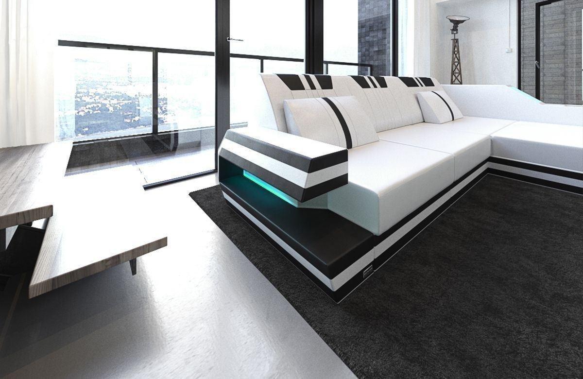 sofa ravenna in leder als ecksofa l form in den farben weiss schwarz. Black Bedroom Furniture Sets. Home Design Ideas