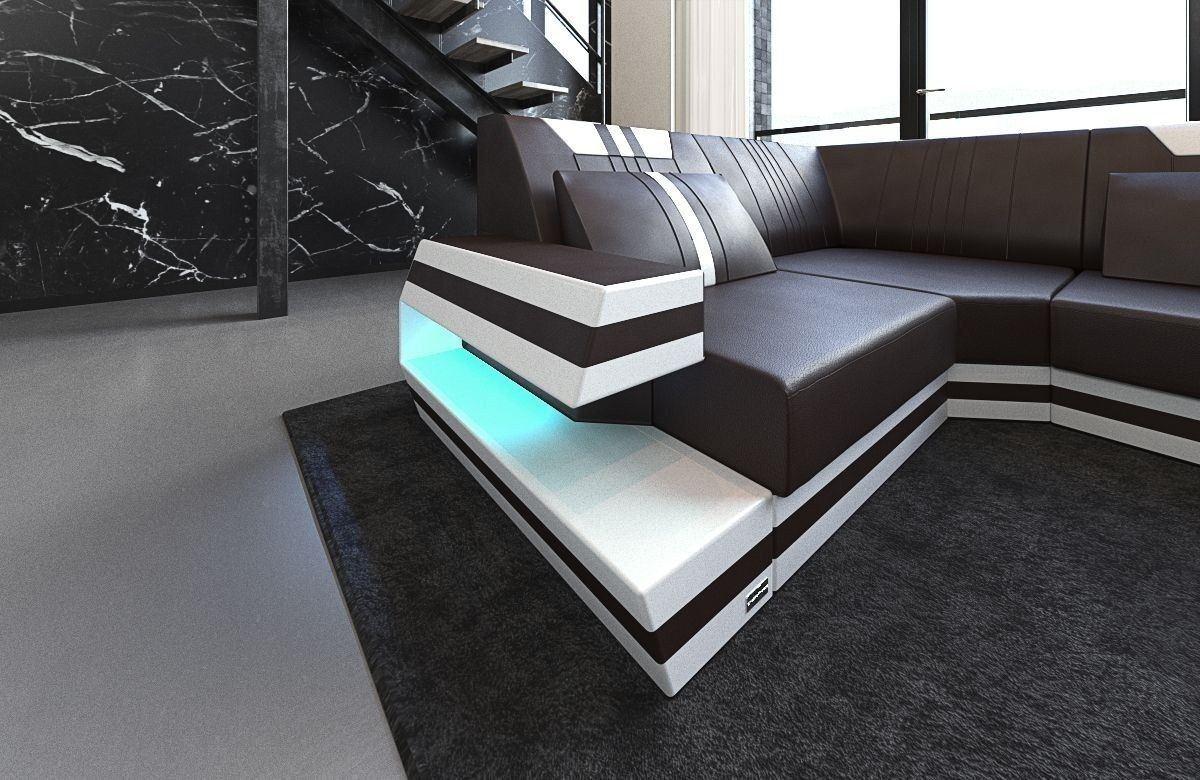leder wohnlandschaft ravenna als u form mit farben braun weiss. Black Bedroom Furniture Sets. Home Design Ideas