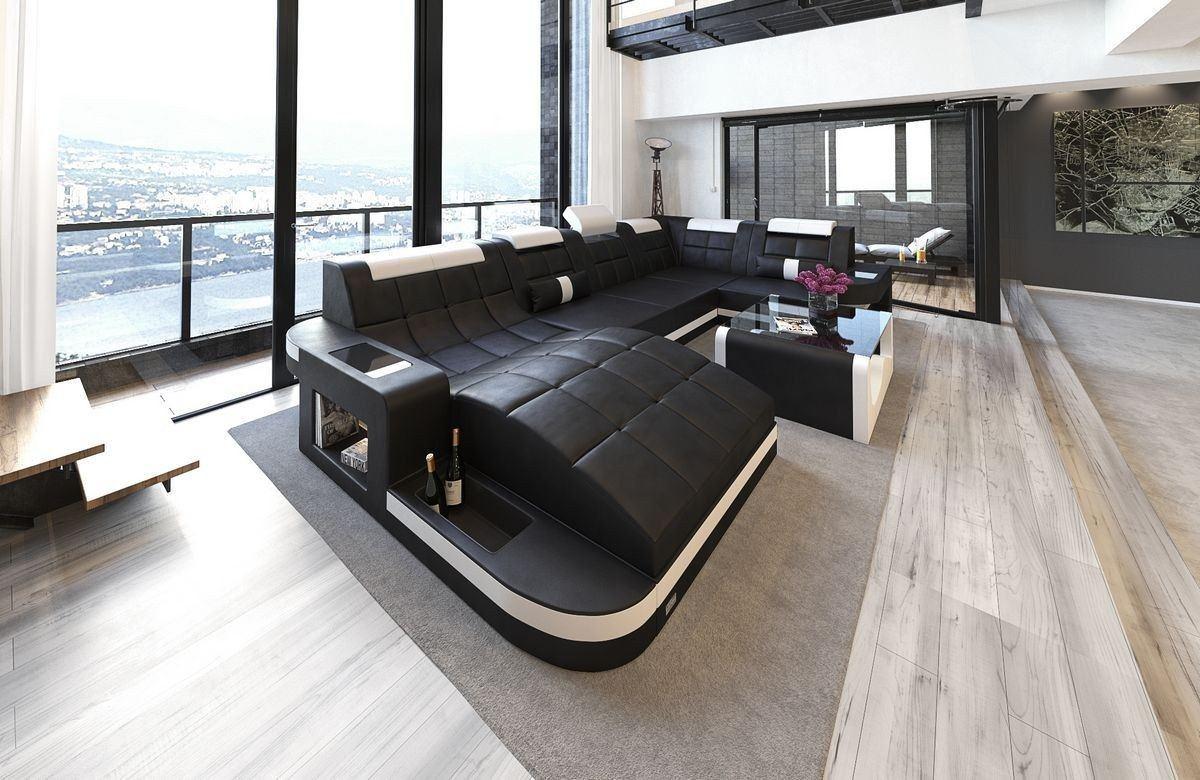 sofa wohnlandschaft wave leder in schwarz wei mit. Black Bedroom Furniture Sets. Home Design Ideas