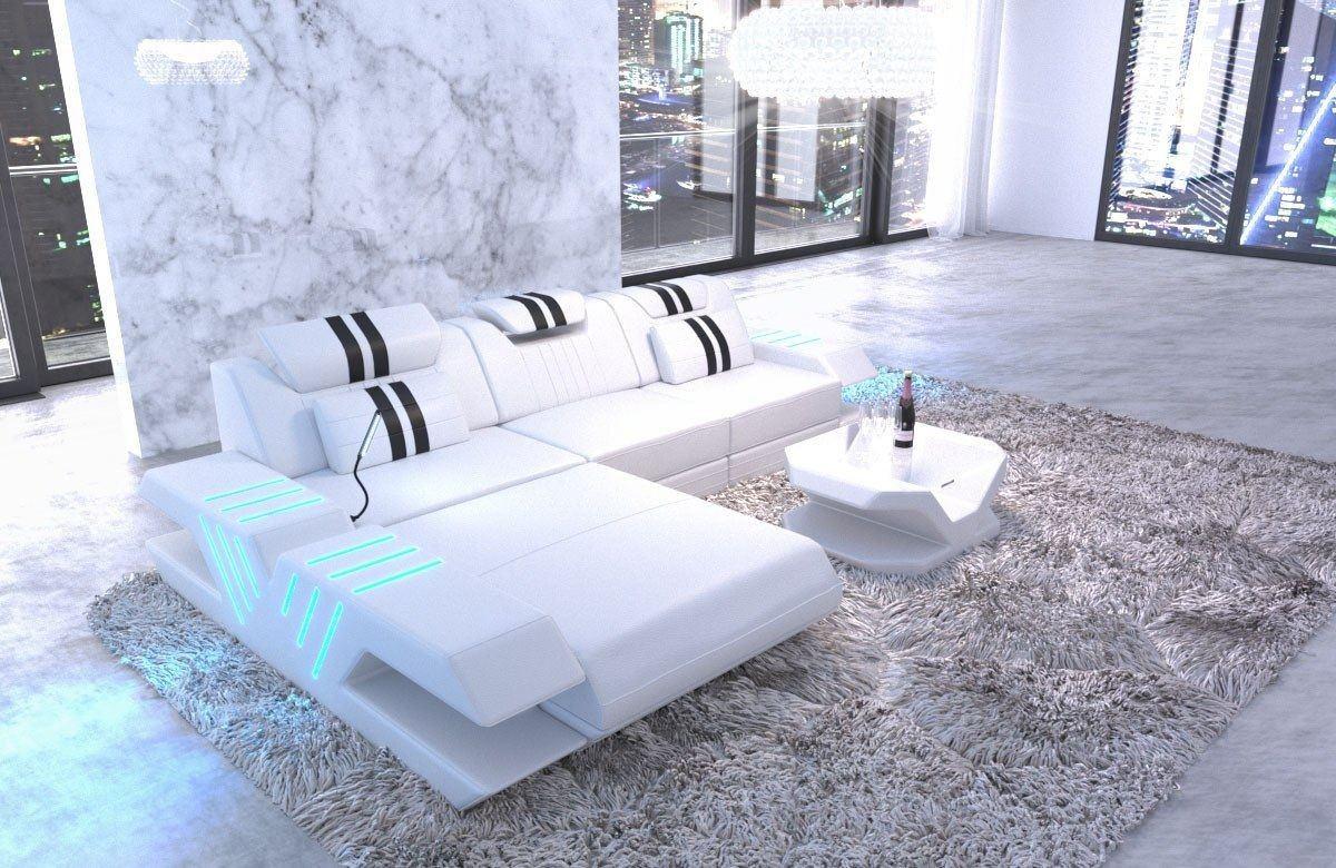 ledersofa venedig l form weiss schwarz. Black Bedroom Furniture Sets. Home Design Ideas