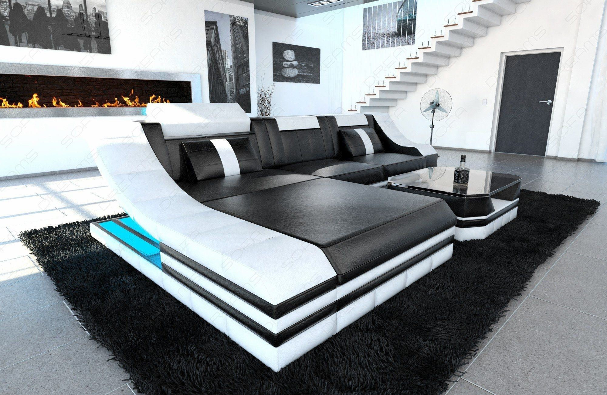 ledersofa turino in der l form und den farben schwarz weiss. Black Bedroom Furniture Sets. Home Design Ideas