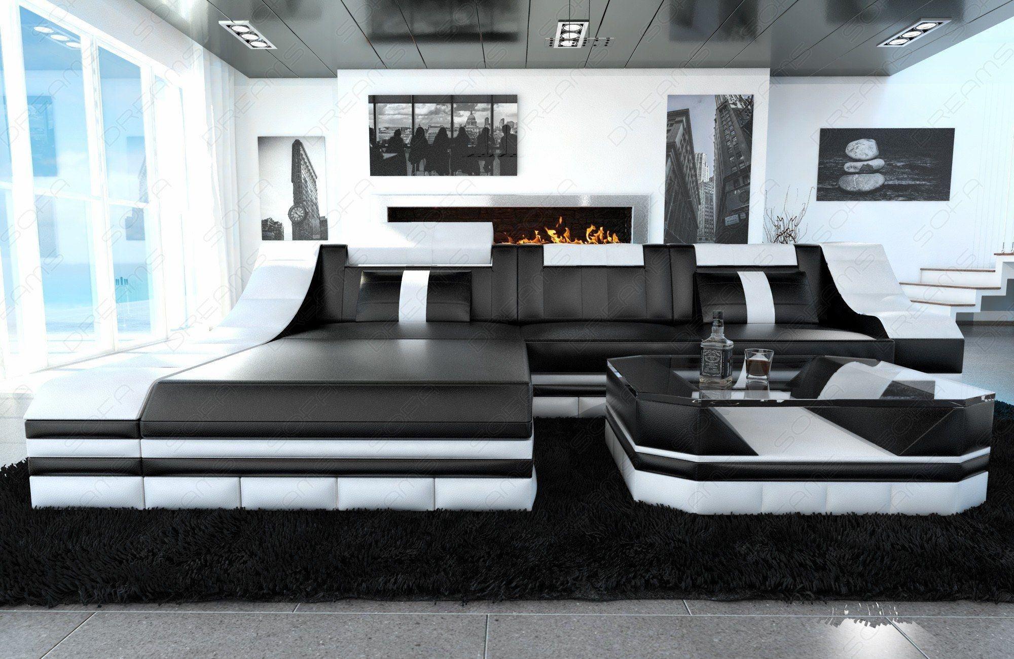 ledersofa turino in der l form und den farben schwarz weiss. Black Bedroom Furniture Sets. Home Design Ideas