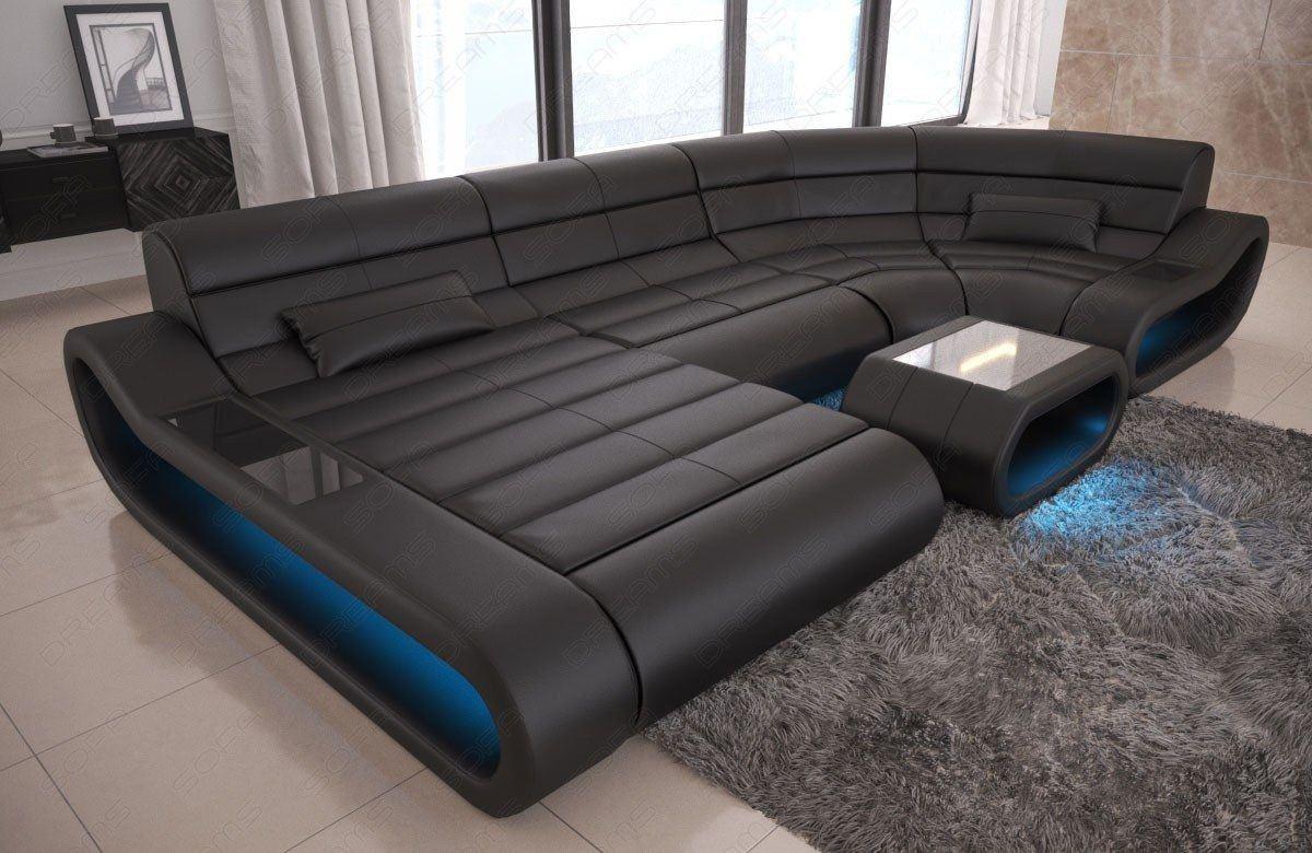 wohnlandschaft concept in leder als u form und der farbe schwarz. Black Bedroom Furniture Sets. Home Design Ideas