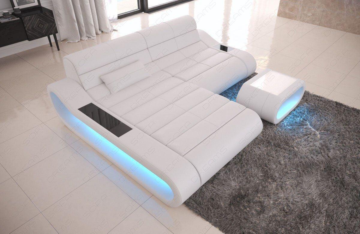 couch concept in leder als l form klein und der farbe weiss. Black Bedroom Furniture Sets. Home Design Ideas