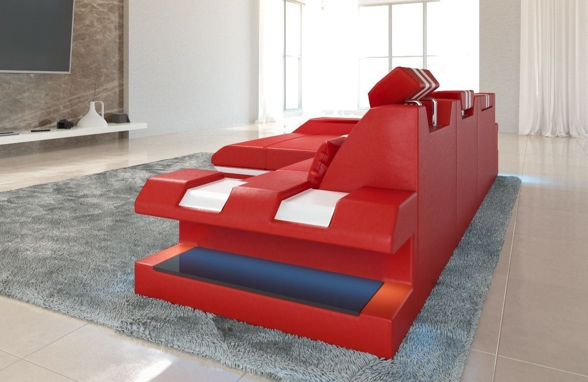 couch apollonia als ledersofa l form in rot und weiss. Black Bedroom Furniture Sets. Home Design Ideas
