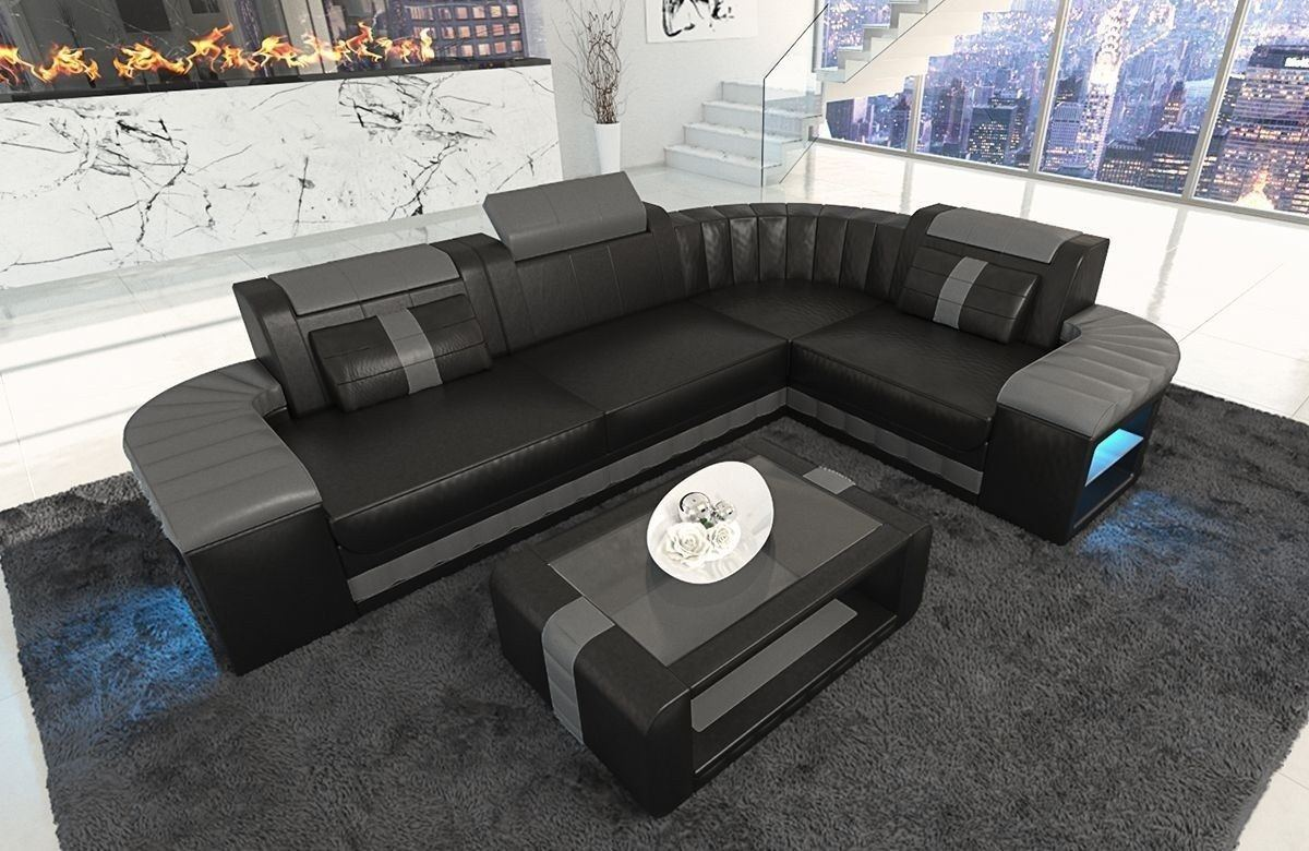 ledersofa bergamo als l form ecksofa in den farben schwarz grau. Black Bedroom Furniture Sets. Home Design Ideas