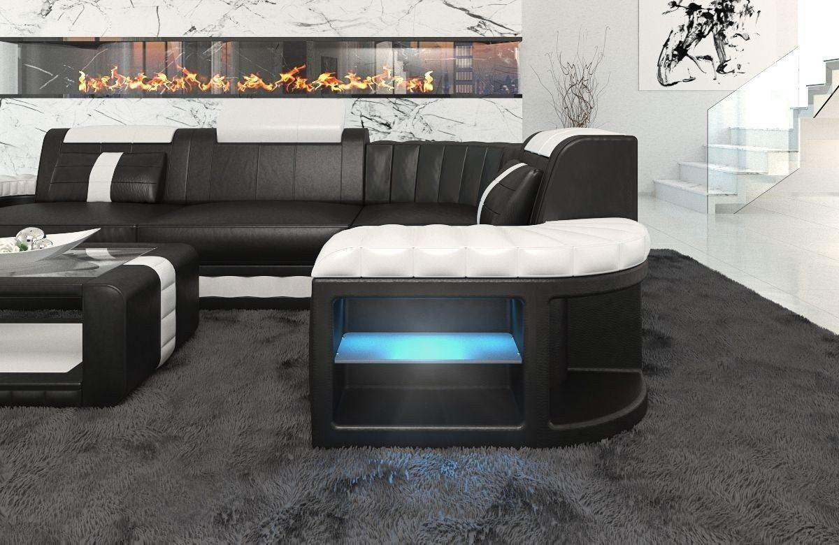 ledersofa bergamo als l form ecksofa in den farben schwarz weiss. Black Bedroom Furniture Sets. Home Design Ideas